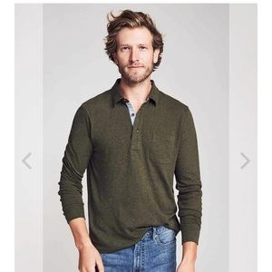 Faherty long sleeve luxe solid heather polo